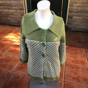 Christopher & Banks Green Mod Thick Knit Sweater